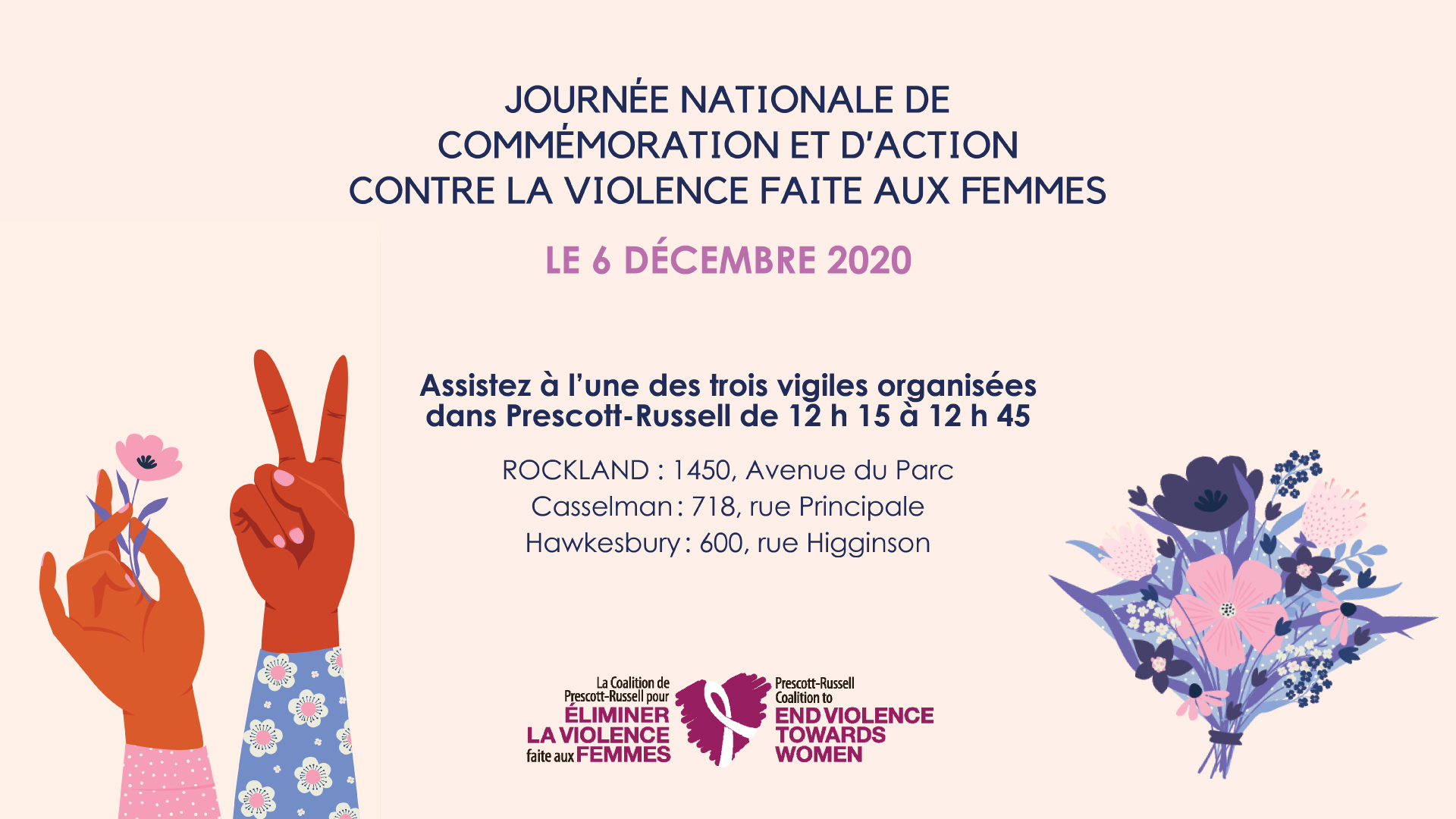 French poster for the National Day of Remembrance and Action on Violence Against Women